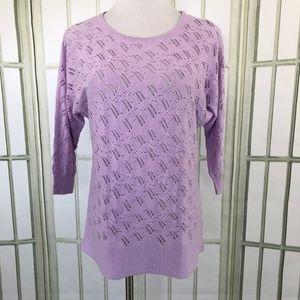 Dana Buchman Open Crochet Sweater Lavender